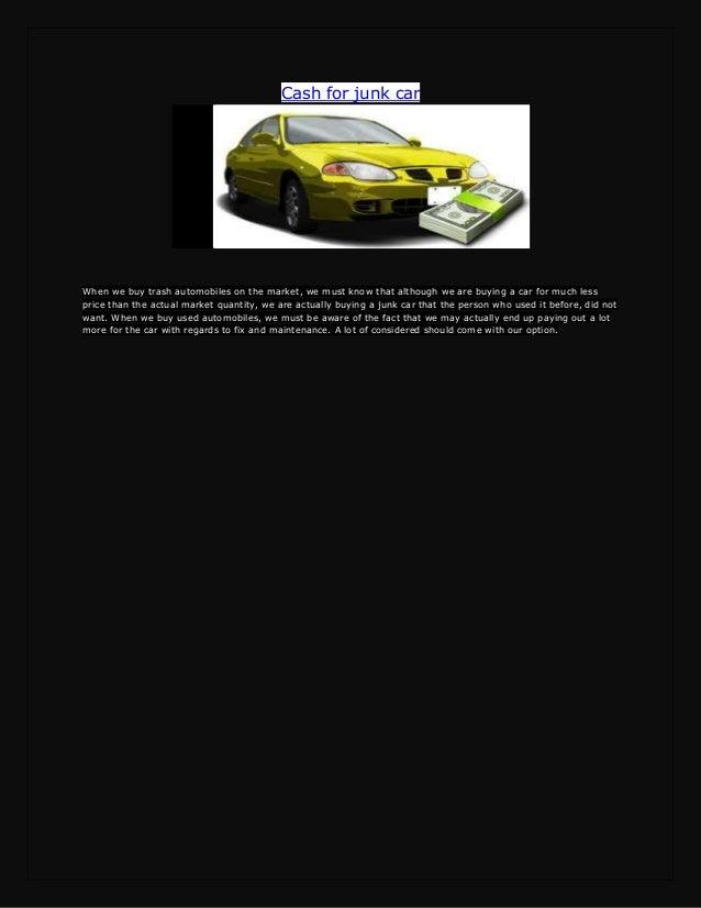 Sell your junk car very easily and make money