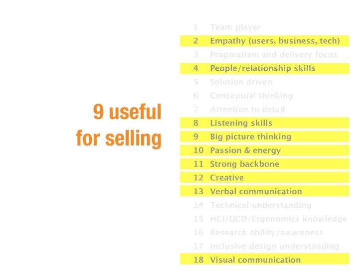 9 usefulfor selling