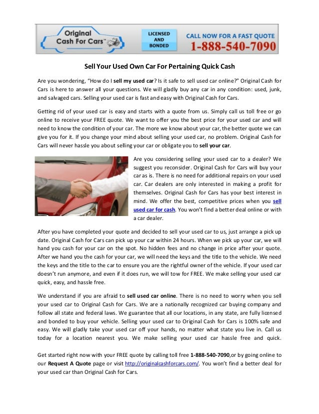 Sell Your Used Own Car For Pertaining Quick Cash