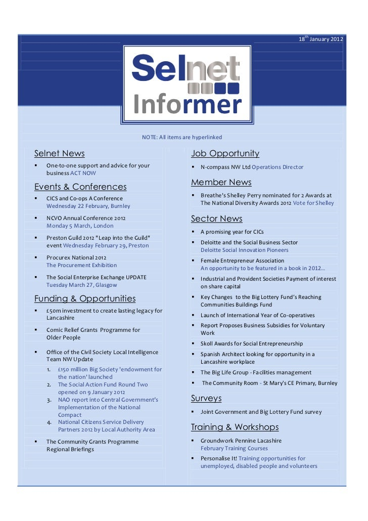 18th January 2012                                       Informer                                           NOTE: All items...