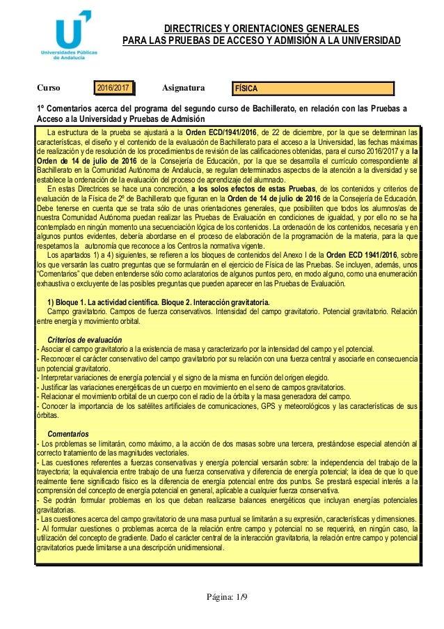 DIRECTRICES Y ORIENTACIONES GENERALES PARA LAS PRUEBAS DE ACCESO Y ADMISIÓN A LA UNIVERSIDAD Página: 1/9 Curso Asignatura ...