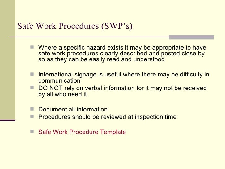 "safe work procedure Below are examples of a few of the procedures that are typically part of an  effective road safety program each of them uses a standard format and includes  ""who."