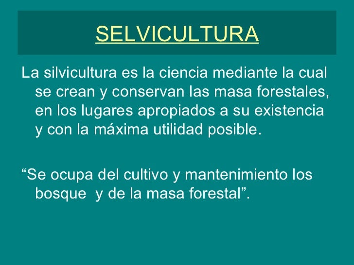 SELVICULTURA <ul><li>La silvicultura es la ciencia mediante la cual se crean y conservan las masa forestales, en los lugar...