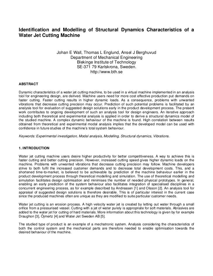 Identification and Modelling of Structural Dynamics Characteristics of aWater Jet Cutting Machine                         ...