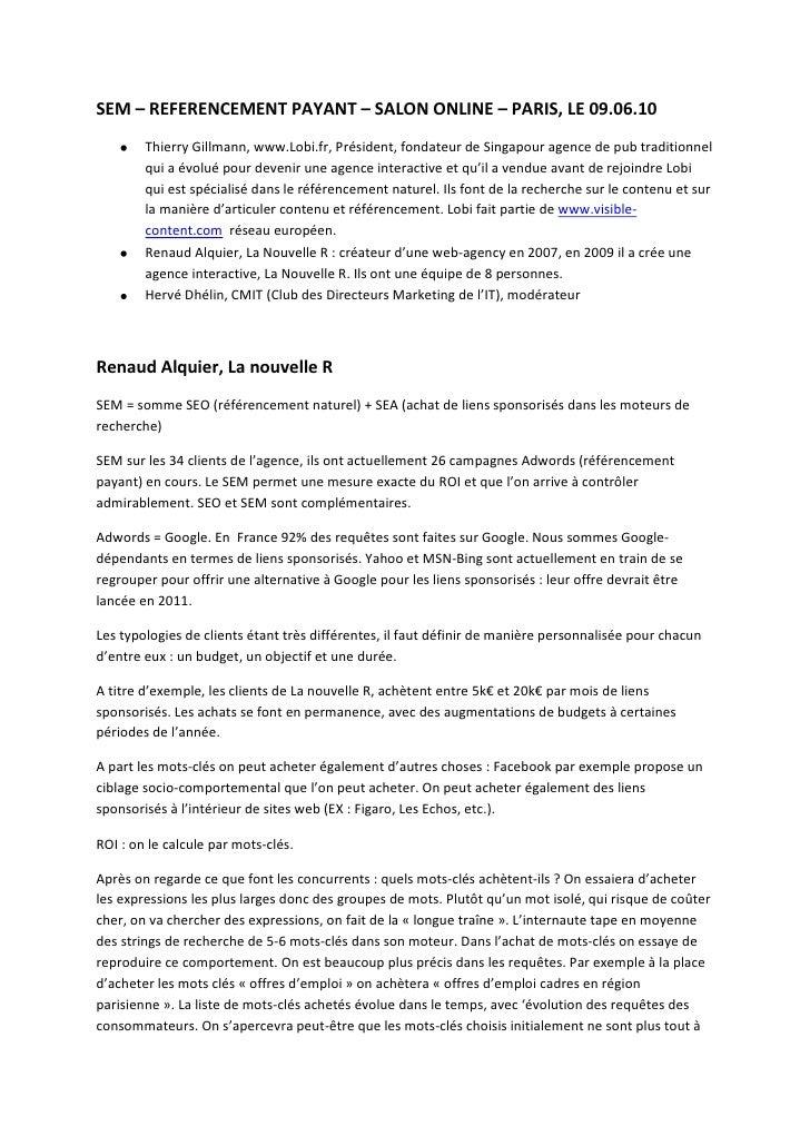 SEM – REFERENCEMENT PAYANT – SALON ONLINE – PARIS, LE 09.06.10<br />Thierry Gillmann, www.Lobi.fr, Président, fondateur de...
