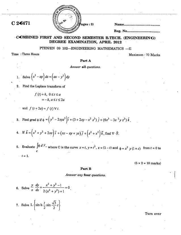 CIVIL ENGINEERING SEMESTER 1 & 2 QUESTION PAPER APRIL 2012