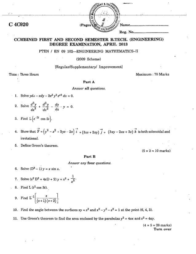 CIVIL ENGINEERING SEMESTER 1 & 2 QUESTION PAPER APRIL 2013