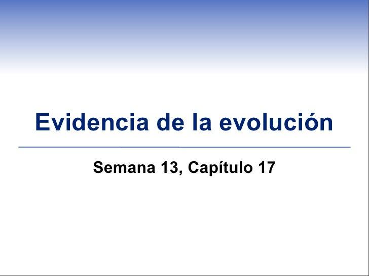 Evidencia de la evolución    Semana 13, Capítulo 17