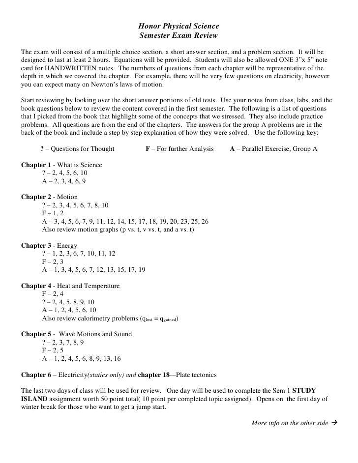 HPS Semester 1 Review Sheet