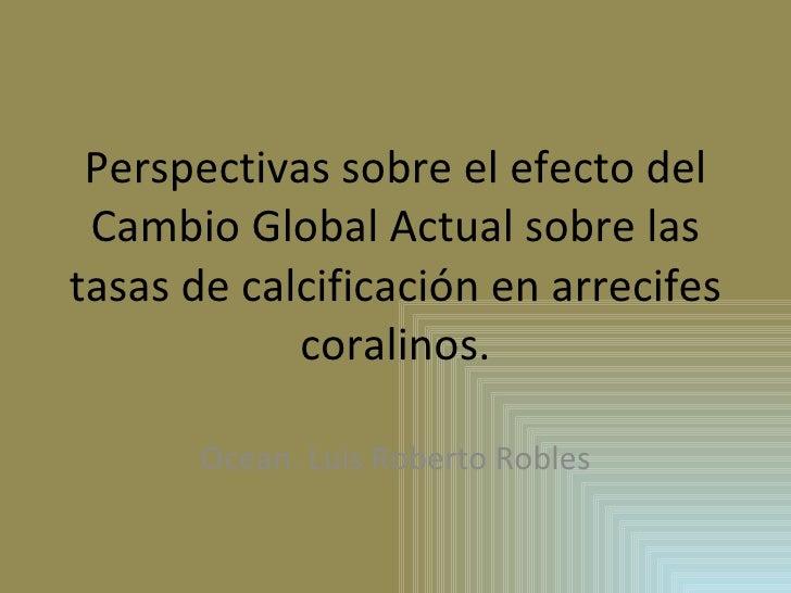 Perspectivas sobre el efecto del Cambio Global Actual sobre las tasas de calcificación en arrecifes coralinos. Ocean. Luis...