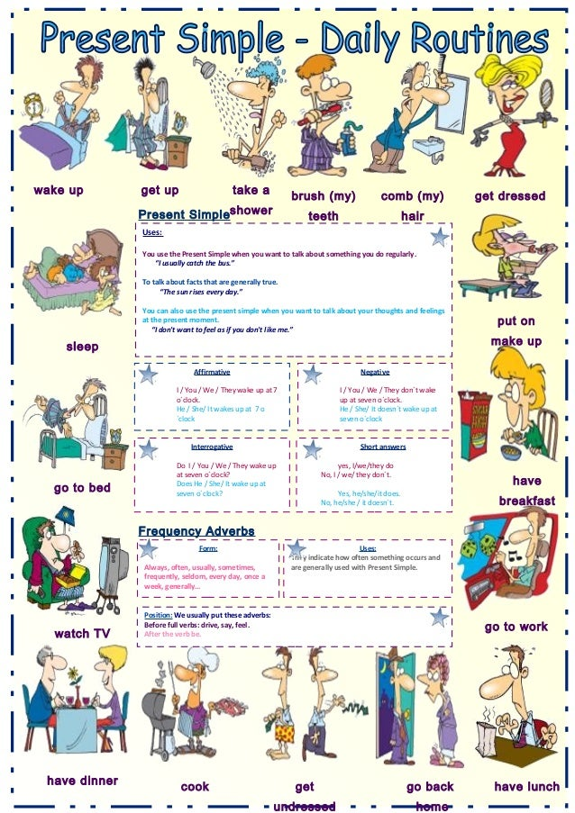 Writing About Daily Routines Using Verbs Worksheet - writing