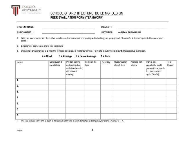 Peer Evaluation Form