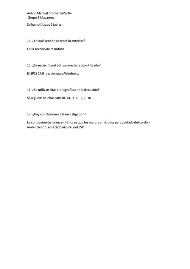 Autor:Manuel ColcheroMartín Grupo B Macarena Se han utilizado2tablas 14. ¿En qué secciónaparece loanterior? En la secciónd...