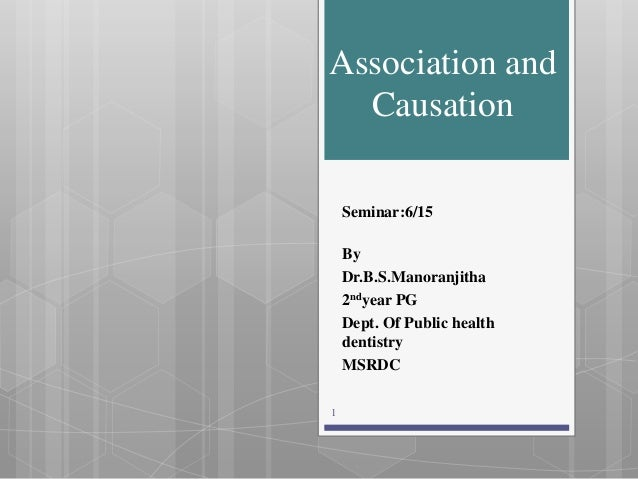 Association and Causation Seminar:6/15 By Dr.B.S.Manoranjitha 2ndyear PG Dept. Of Public health dentistry MSRDC 1