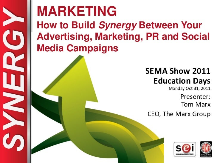 MARKETINGHow to Build Synergy Between YourAdvertising, Marketing, PR and SocialMedia Campaigns                       SEMA ...
