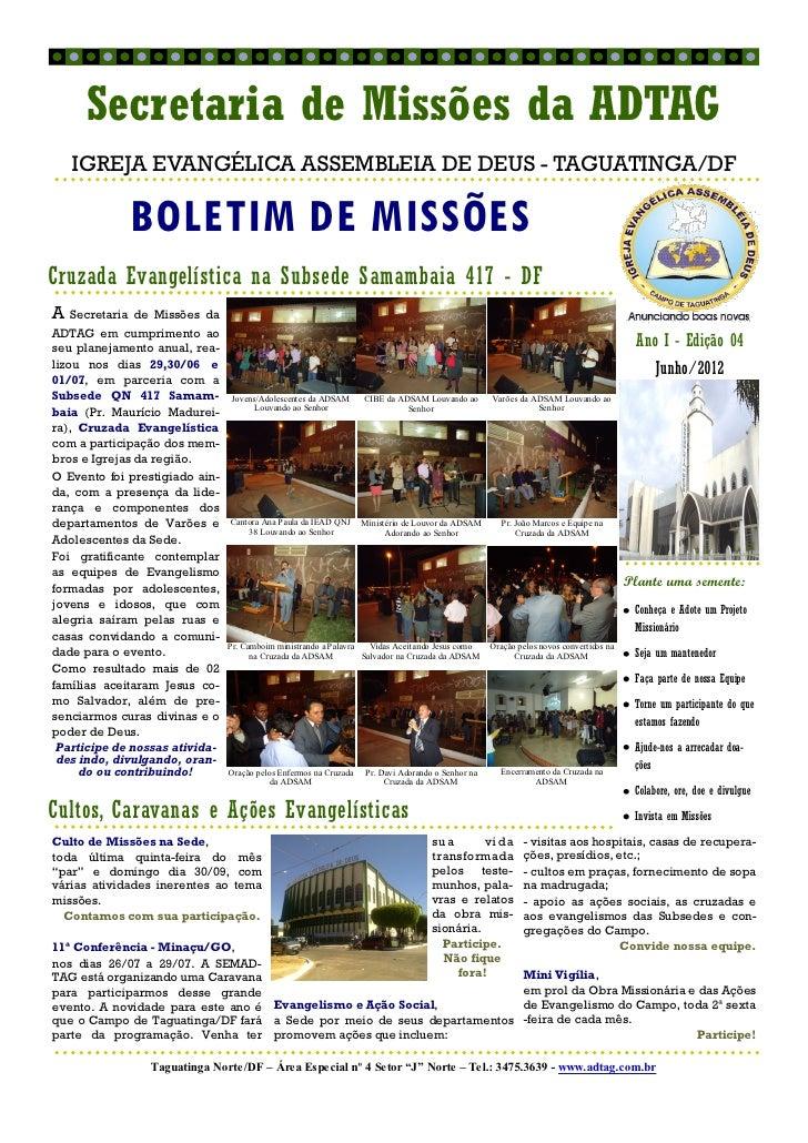 Secretaria de Missões da ADTAG   IGREJA EVANGÉLICA ASSEMBLEIA DE DEUS - TAGUATINGA/DF               BOLETIM DE MISSÕESCruz...