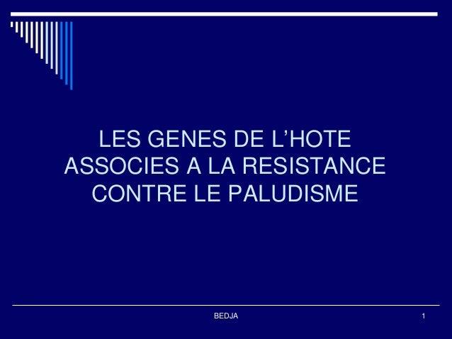 LES GENES DE L'HOTEASSOCIES A LA RESISTANCE  CONTRE LE PALUDISME           BEDJA           1