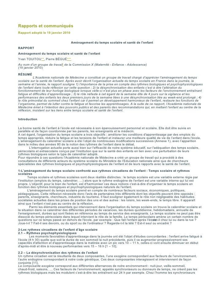 Rapports et communiqués Rapport adopté le 19 janvier 2010                                         Aménagement du temps sc...