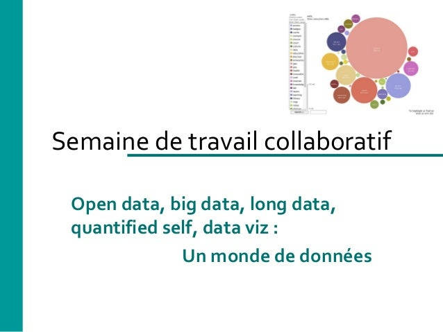 Semaine de travail collaboratif Open data, big data, long data, quantified self, data viz : Un monde de données