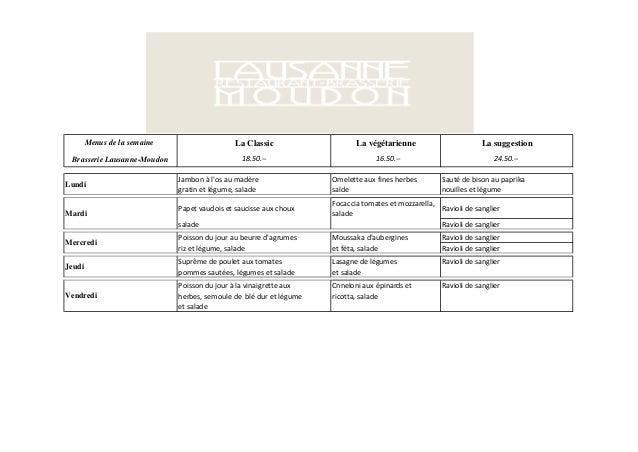 Menus de la semaine                    La Classic                   La végétarienne                       La suggestion Br...