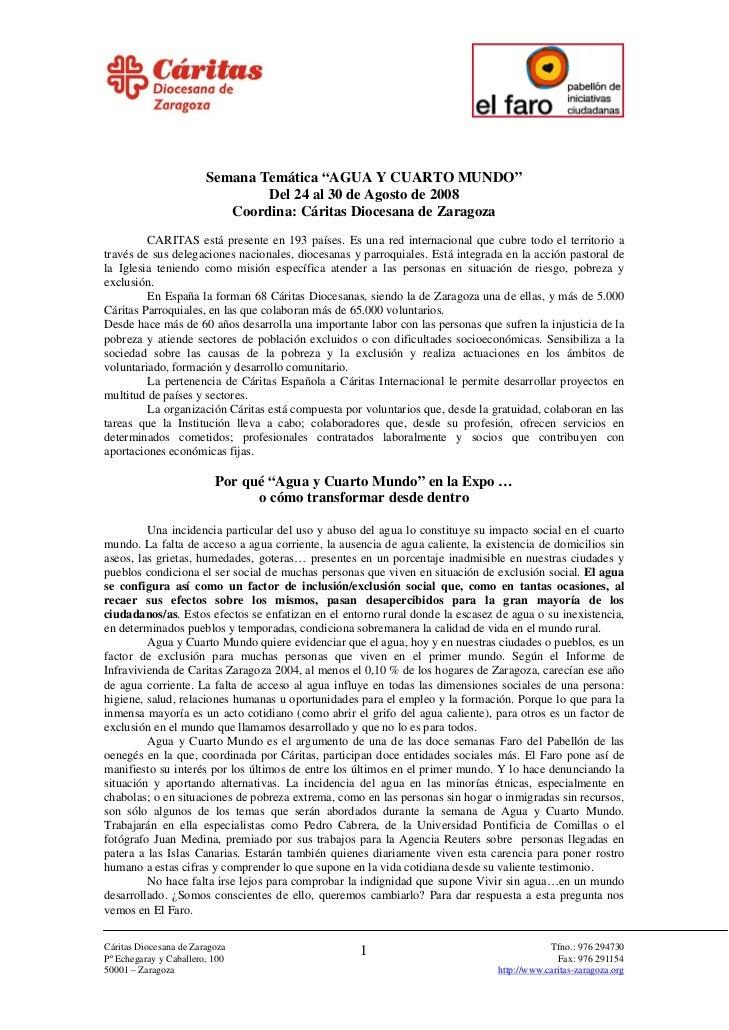 """Semana Temática """"AGUA Y CUARTO MUNDO""""                                 Del 24 al 30 de Agosto de 2008                      ..."""