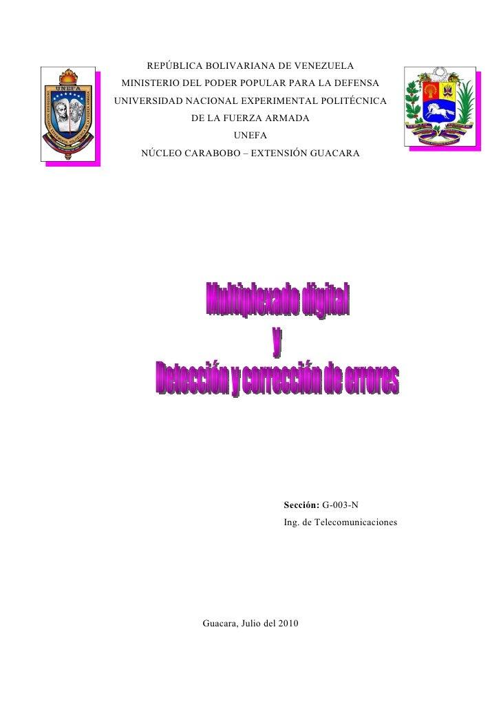 REPÚBLICA BOLIVARIANA DE VENEZUELA  MINISTERIO DEL PODER POPULAR PARA LA DEFENSA UNIVERSIDAD NACIONAL EXPERIMENTAL POLITÉC...