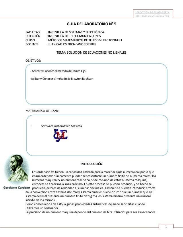 DIRECCIÓN DE INGENIERÍA DE TELECOMUNICACIONES  GUIA DE LABORATORIO N° 5 FACULTAD DIRECCIÓN CURSO DOCENTE  : INGENIERÍA DE ...