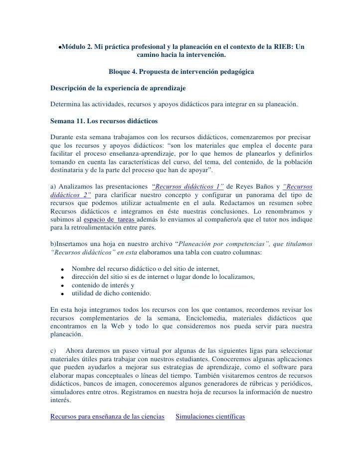 Módulo 2. Mi práctica profesional y la planeación en el contexto de la RIEB: Un                           camino hacia la ...