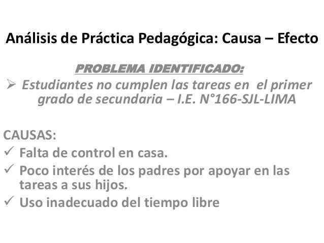 Análisis de Práctica Pedagógica: Causa – Efecto PROBLEMA IDENTIFICADO:  Estudiantes no cumplen las tareas en el primer gr...