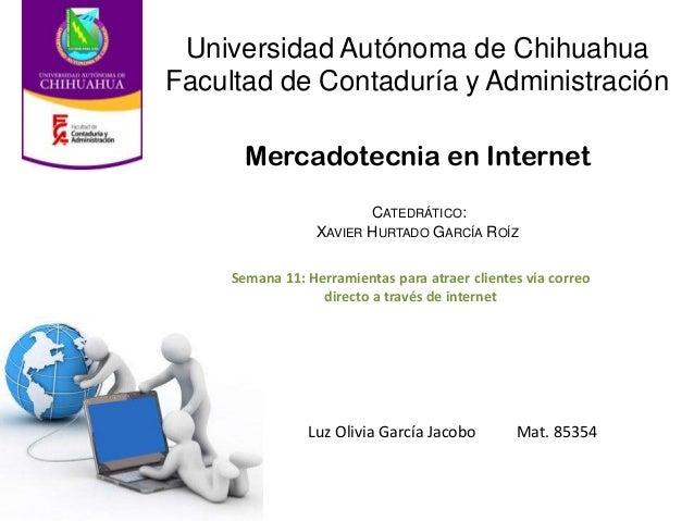 Mercadotecnia en Internet Luz Olivia García Jacobo Mat. 85354 Universidad Autónoma de Chihuahua Facultad de Contaduría y A...