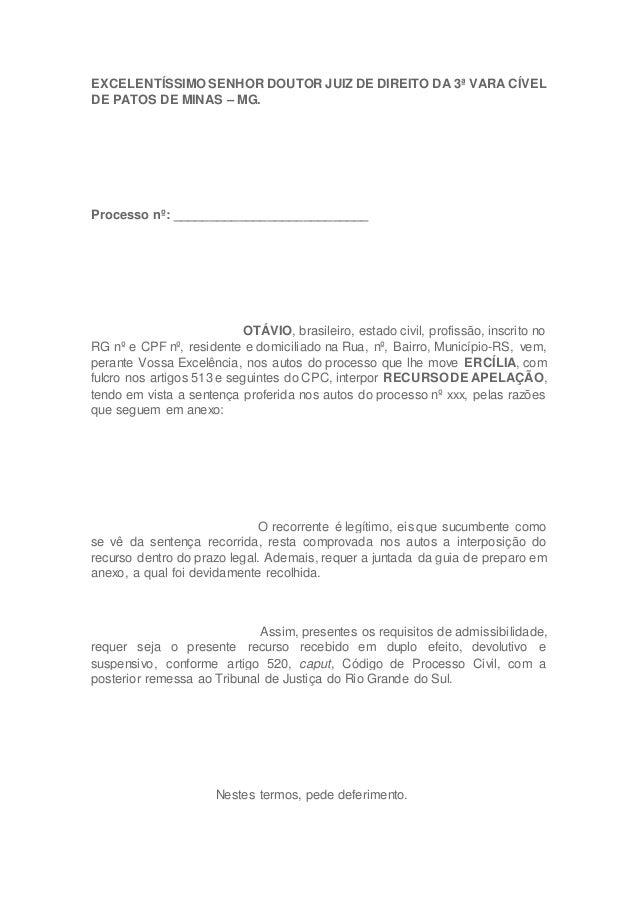 EXCELENTÍSSIMO SENHOR DOUTOR JUIZ DE DIREITO DA 3ª VARA CÍVEL DE PATOS DE MINAS – MG. Processo nº: _______________________...