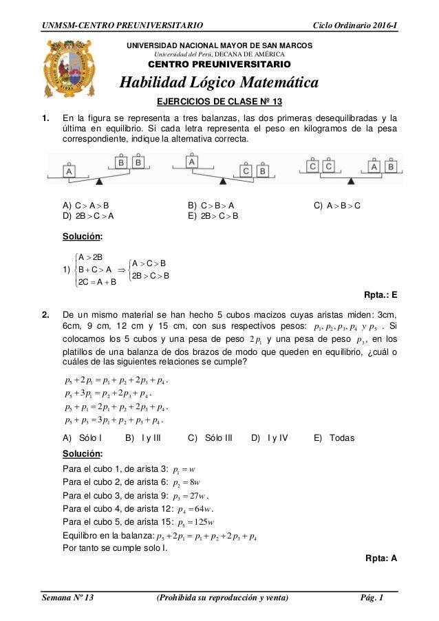 Solucionario PRE SAN MARCOS- Semana 13 Ciclo 2016