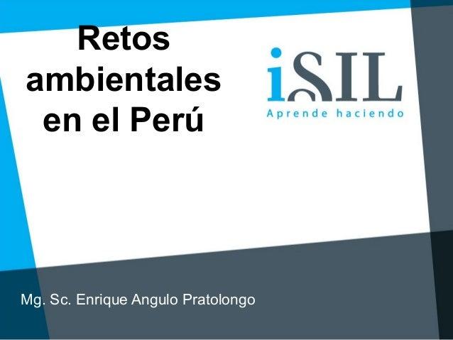 Retos ambientales en el Perú Mg. Sc. Enrique Angulo Pratolongo