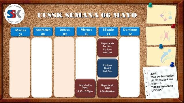 UCSSK SEMANA 06 MAYOUCSSK SEMANA 06 MAYOMiércoles08Jueves09Viernes10Martes07Junio:Mes de Formaciónde CapacitadoresInternos...