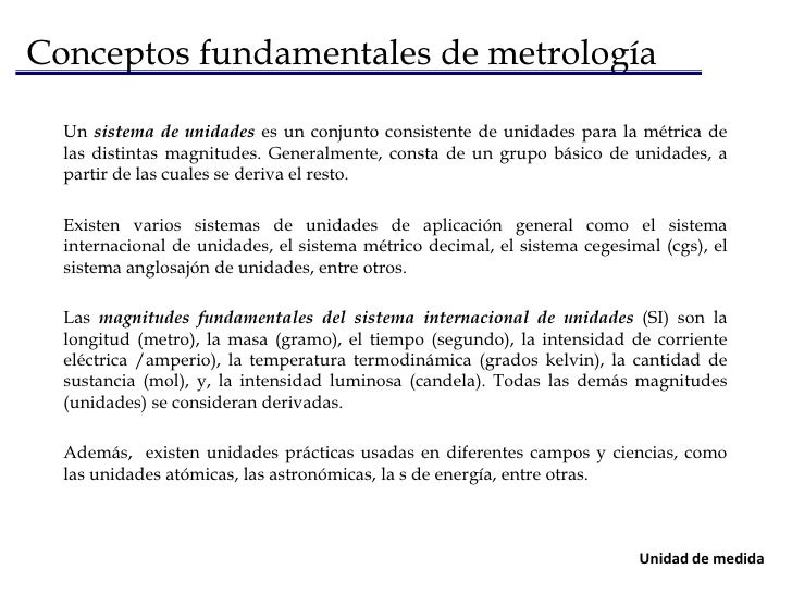 Conceptos fundamentales de metrología<br />Métrica de una magnitud<br />