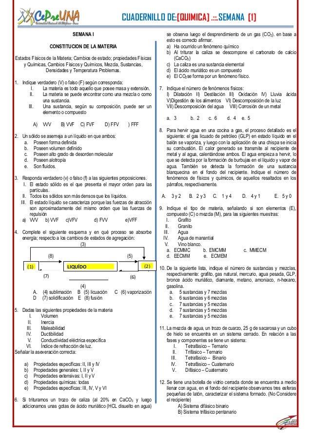 CUADERNILLO DE:[QUIMICA] .::.SEMANA [1]1SEMANA ICONSTITUCION DE LA MATERIAEstados Físicos de la Materia; Cambios de estado...