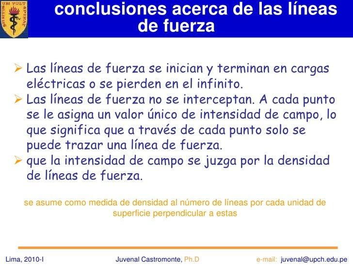 Campo de una carga puntual<br />Lima, 2010-IJuvenal Castromonte, Ph.D                              e-mail:  juvenal@upch.e...