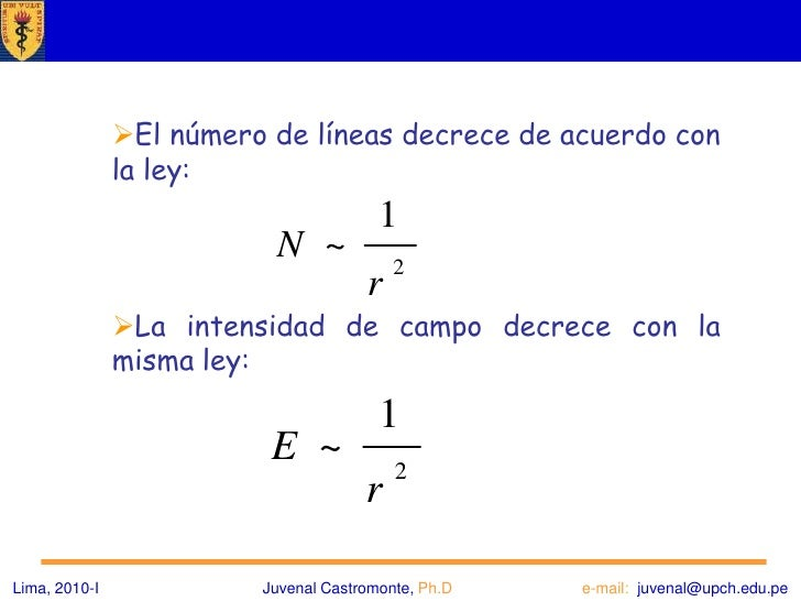 Campo de dos cargas puntuales<br />Lima, 2010-IJuvenal Castromonte, Ph.D                              e-mail:  juvenal@upc...