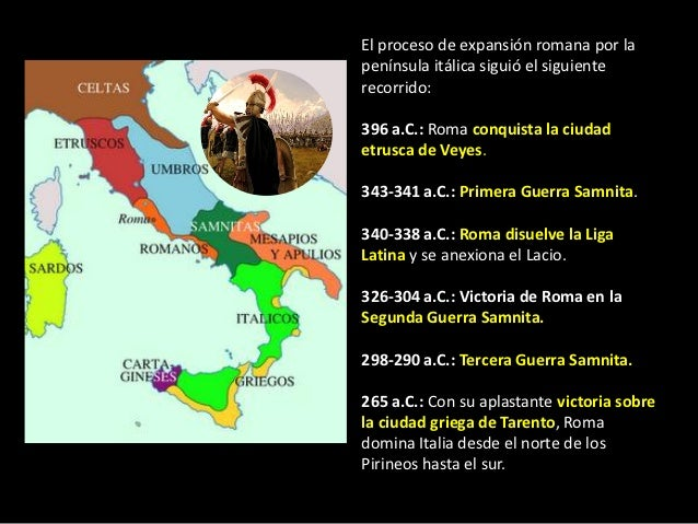 El proceso de expansión romana por lapenínsula itálica siguió el siguienterecorrido:396 a.C.: Roma conquista la ciudadetru...
