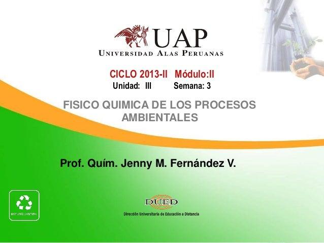Prof. Quím. Jenny M. Fernández V. CICLO 2013-II Módulo:II Unidad: III Semana: 3 FISICO QUIMICA DE LOS PROCESOS AMBIENTALES