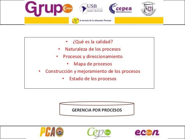 • ¿Qué es la calidad?         • Naturaleza de los procesos        • Procesos y direccionamiento              • Mapa de pro...