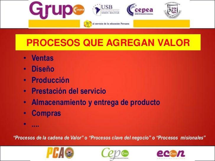 PROCESOS QUE AGREGAN VALOR    •   Ventas    •   Diseño    •   Producción    •   Prestación del servicio    •   Almacenamie...