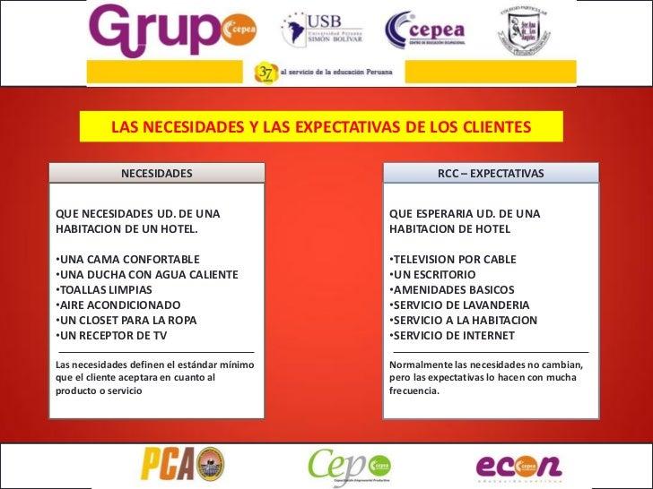LAS NECESIDADES Y LAS EXPECTATIVAS DE LOS CLIENTES             NECESIDADES                              RCC – EXPECTATIVAS...