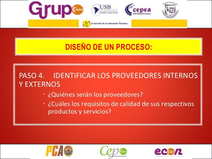 DISEÑO DE UN PROCESO:PASO 4. IDENTIFICAR LOS PROVEEDORES INTERNOSY EXTERNOS     · ¿Quiénes serán los proveedores?     · ¿C...