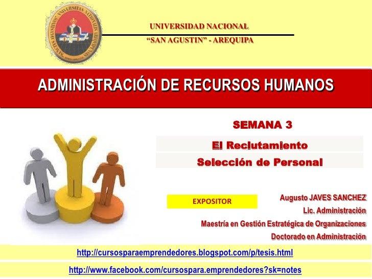 """UNIVERSIDAD NACIONAL                      """"SAN AGUSTIN"""" - AREQUIPAADMINISTRACIÓN DE RECURSOS HUMANOS                      ..."""