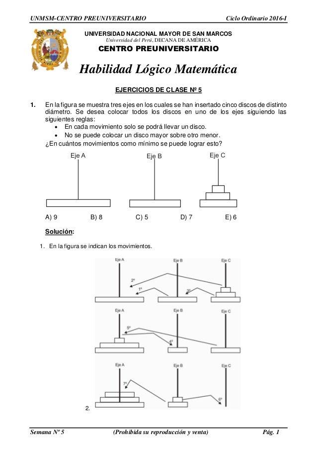 Solucionario PRE SAN MARCOS- Semana 5 ciclo ordinario 2016 1