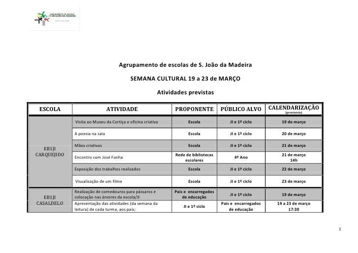 Agrupamento de escolas de S. João da Madeira                                          SEMANA CULTURAL 19 a 23 de MARÇO    ...