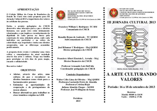APRESENTAÇÃO O Colégio Militar do Corpo de Bombeiros do Estado do Ceará tem como proposta para III Jornada Cultural 2013 a...