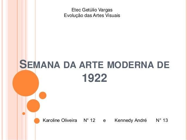 Etec Getúlio Vargas             Evolução das Artes VisuaisSEMANA DA ARTE MODERNA DE          1922   Karoline Oliveira   N°...