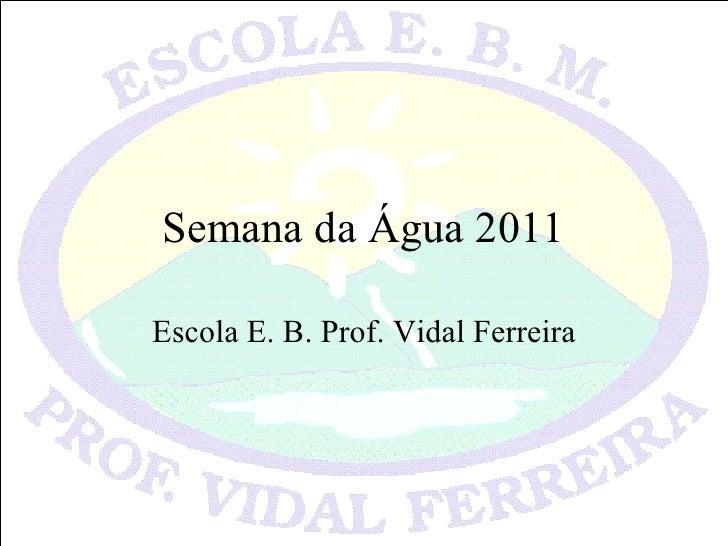 Semana da Água 2011 Escola E. B. Prof. Vidal Ferreira